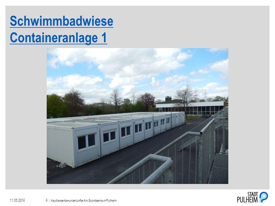Schwimmbadwiese Containeranlage 1 11.05.2016Asylbewerberunterkünfte Am Sportzentrum Pulheim6 /