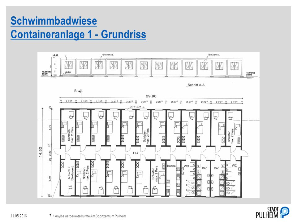 Schwimmbadwiese Containeranlage 2 11.05.2016Asylbewerberunterkünfte Am Sportzentrum Pulheim8 /