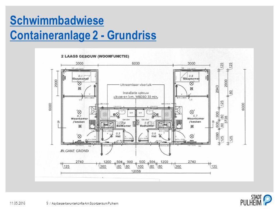 Schwimmbadwiese Containeranlage 2 - Grundriss 11.05.2016Asylbewerberunterkünfte Am Sportzentrum Pulheim9 /