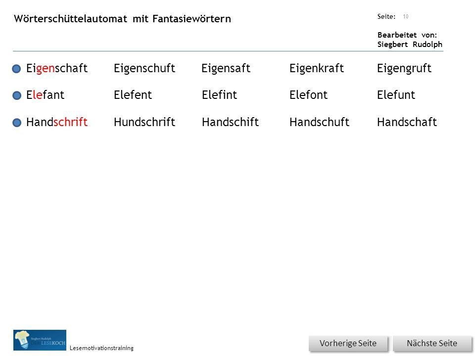 Übungsart: Seite: Bearbeitet von: Siegbert Rudolph Lesemotivationstraining Wörterschüttelautomat mit Fantasiewörtern 10 EigenschaftEigenschuftEigensaf