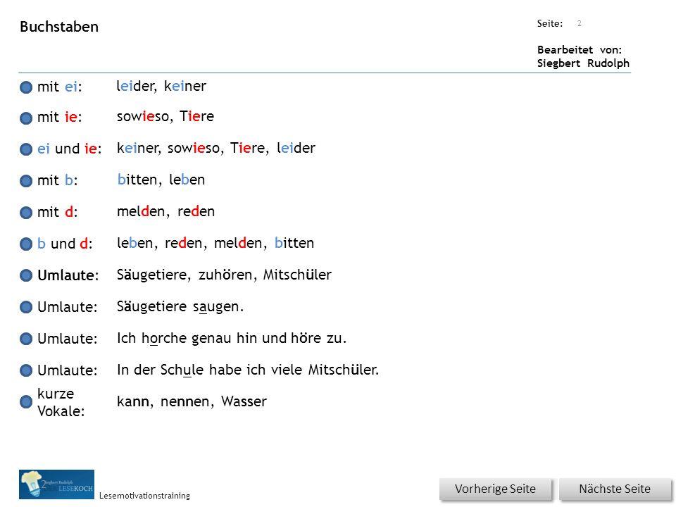 Übungsart: Seite: Bearbeitet von: Siegbert Rudolph Lesemotivationstraining 2 Buchstaben mit ei: mit ie: ei und ie: mit b: mit d: b und d: Umlaute: kur