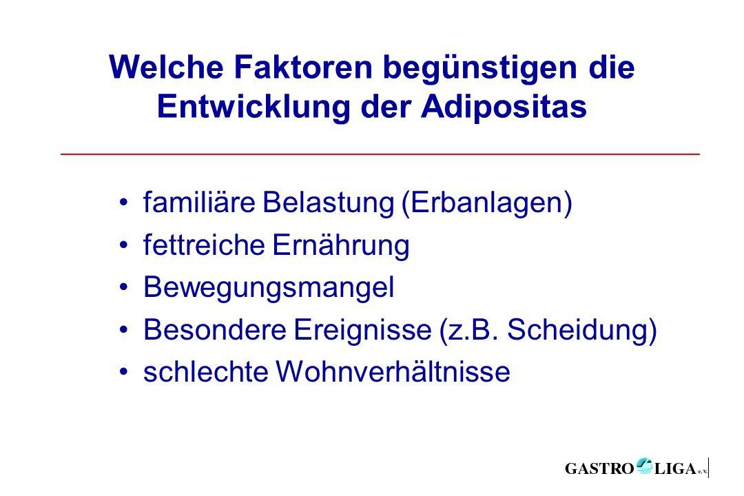 Welche Faktoren begünstigen die Entwicklung der Adipositas familiäre Belastung (Erbanlagen) fettreiche Ernährung Bewegungsmangel Besondere Ereignisse