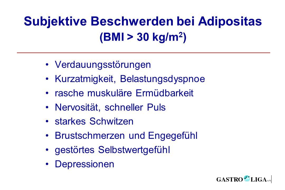 Subjektive Beschwerden bei Adipositas (BMI > 30 kg/m 2 ) Verdauungsstörungen Kurzatmigkeit, Belastungsdyspnoe rasche muskuläre Ermüdbarkeit Nervosität