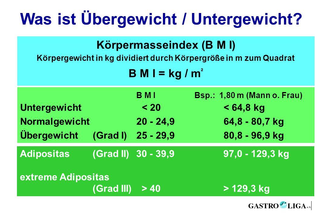 Adipositas (Grad II)30 - 39,997,0 - 129,3 kg extreme Adipositas (Grad III) > 40> 129,3 kg Was ist Übergewicht / Untergewicht? Körpermasseindex (B M I)