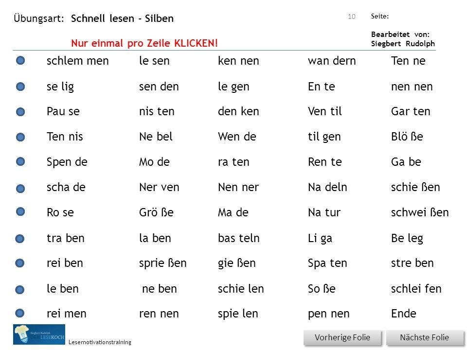 Übungsart: Seite: Bearbeitet von: Siegbert Rudolph Lesemotivationstraining Schnell lesen - Silben Nur einmal pro Zeile KLICKEN! Nächste Folie Vorherig