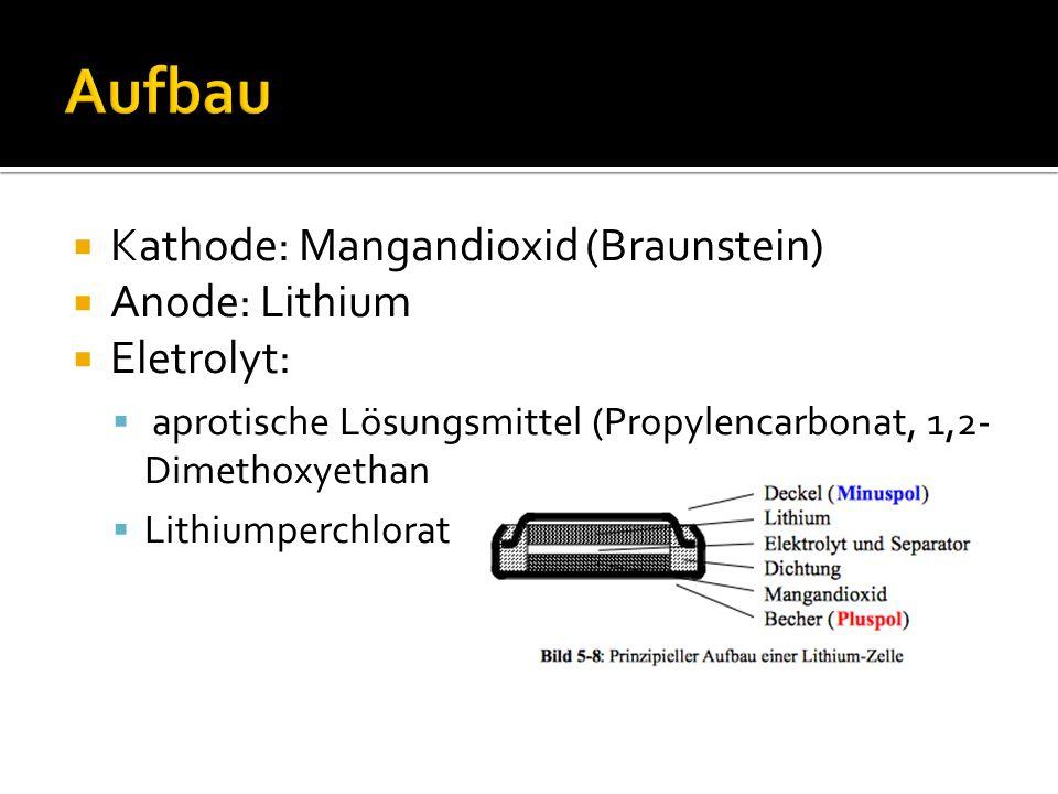  Kathode: Mangandioxid (Braunstein)  Anode: Lithium  Eletrolyt:  aprotische Lösungsmittel (Propylencarbonat, 1,2- Dimethoxyethan  Lithiumperchlorat