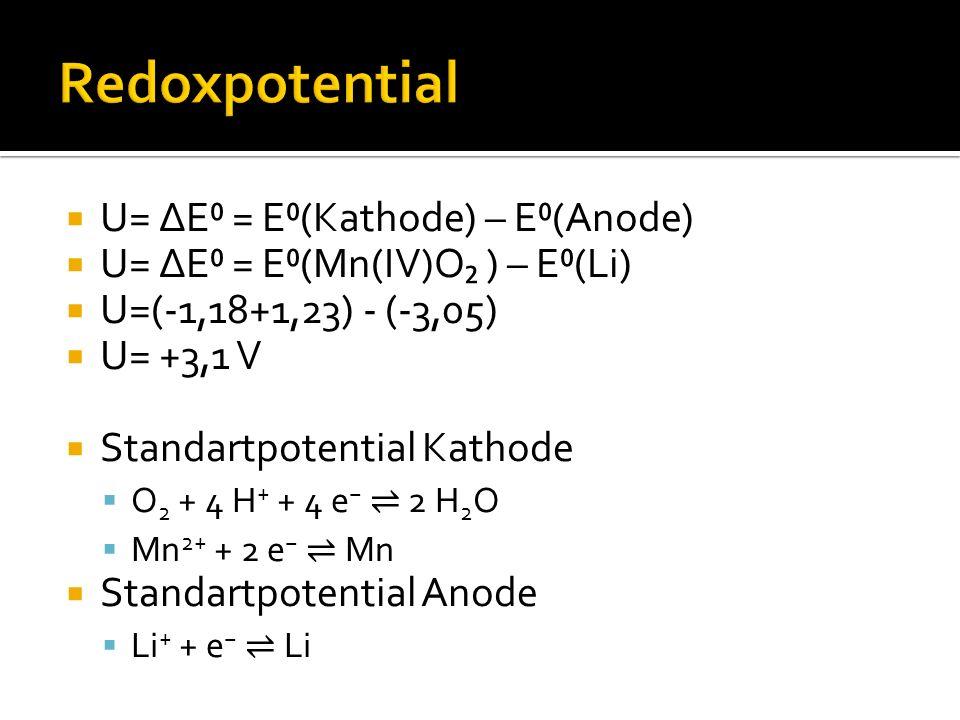  U= ∆E⁰ = E⁰(Kathode) – E⁰(Anode)  U= ∆E⁰ = E⁰(Mn(IV)O₂ ) – E⁰(Li)  U=(-1,18+1,23) - (-3,05)  U= +3,1 V  Standartpotential Kathode  O 2 + 4 H + + 4 e − ⇌ 2 H 2 O  Mn 2+ + 2 e − ⇌ Mn  Standartpotential Anode  Li + + e − ⇌ Li
