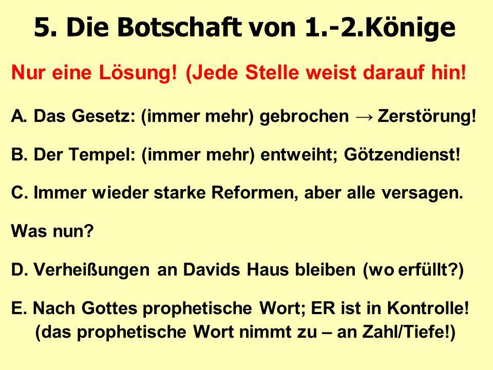 5. Die Botschaft von 1.-2.Könige Nur eine Lösung.