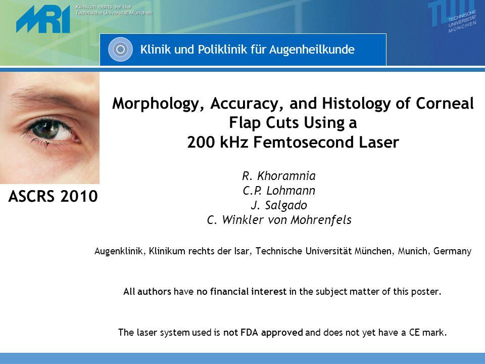 Klinik und Poliklinik für Augenheilkunde Morphology, Accuracy, and Histology of Corneal Flap Cuts Using a 200 kHz Femtosecond Laser Augenklinik, Klini