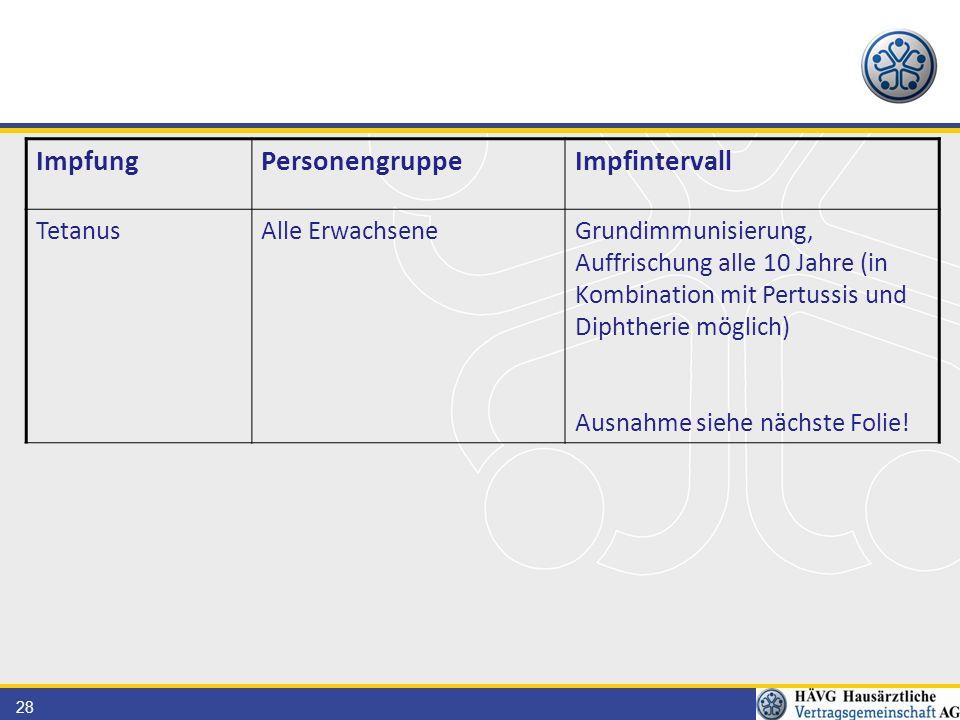 28 ImpfungPersonengruppeImpfintervall TetanusAlle ErwachseneGrundimmunisierung, Auffrischung alle 10 Jahre (in Kombination mit Pertussis und Diphtheri