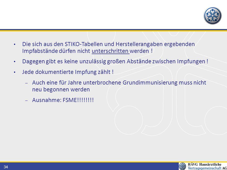 34 Die sich aus den STIKO-Tabellen und Herstellerangaben ergebenden Impfabstände dürfen nicht unterschritten werden ! Dagegen gibt es keine unzulässig