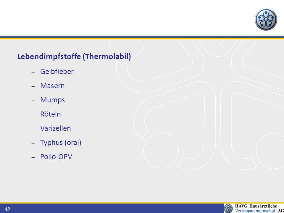 42 Lebendimpfstoffe (Thermolabil)  Gelbfieber  Masern  Mumps  Röteln  Varizellen  Typhus (oral)  Polio-OPV