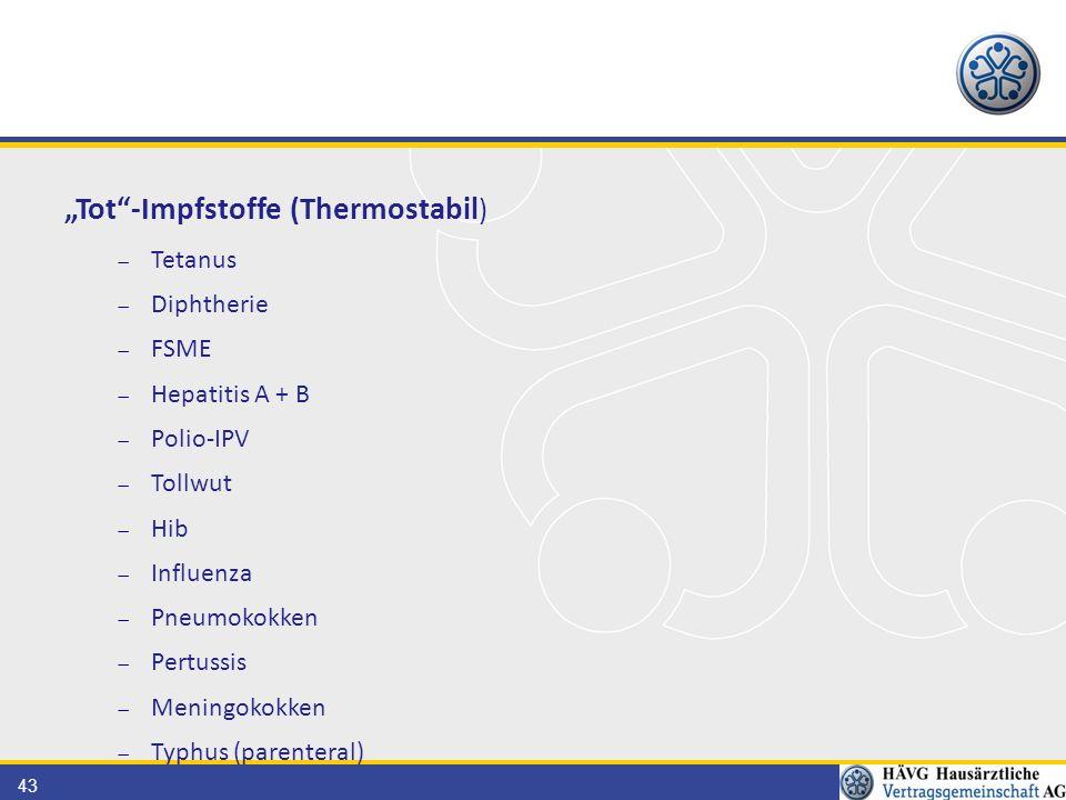 "43 ""Tot -Impfstoffe (Thermostabil )  Tetanus  Diphtherie  FSME  Hepatitis A + B  Polio-IPV  Tollwut  Hib  Influenza  Pneumokokken  Pertussis  Meningokokken  Typhus (parenteral)"