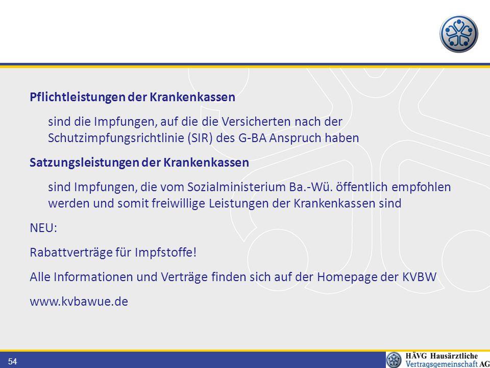 54 Pflichtleistungen der Krankenkassen sind die Impfungen, auf die die Versicherten nach der Schutzimpfungsrichtlinie (SIR) des G-BA Anspruch haben Sa