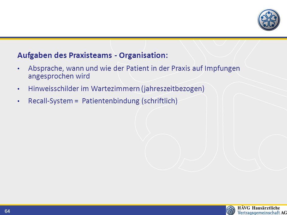 64 Aufgaben des Praxisteams - Organisation: Absprache, wann und wie der Patient in der Praxis auf Impfungen angesprochen wird Hinweisschilder im Wartezimmern (jahreszeitbezogen) Recall-System = Patientenbindung (schriftlich)