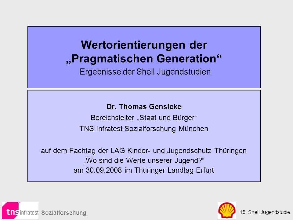 """15. Shell Jugendstudie Sozialforschung Wertorientierungen der """"Pragmatischen Generation"""" Ergebnisse der Shell Jugendstudien Dr. Thomas Gensicke Bereic"""