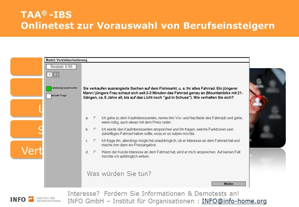 TAA ® -IBS Onlinetest zur Vorauswahl von Berufseinsteigern BasisfähigkeitenBasisfertigkeiten Logisches Denken Soziale IntelligenzVertriebliche Kompetenz Was würden Sie tun.