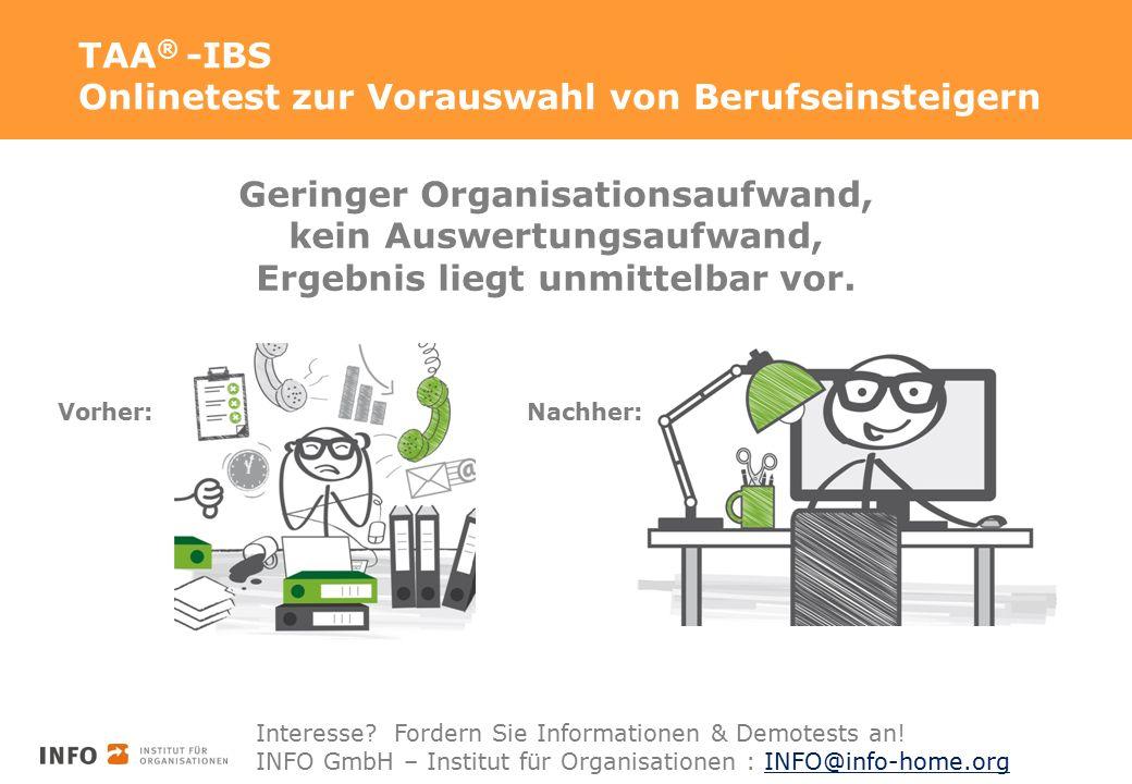 TAA ® -IBS Onlinetest zur Vorauswahl von Berufseinsteigern Geringer Organisationsaufwand, kein Auswertungsaufwand, Ergebnis liegt unmittelbar vor. Vor