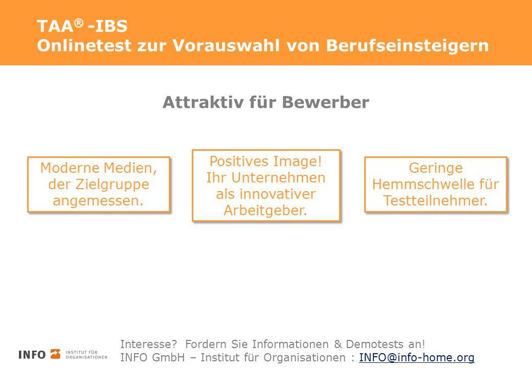 TAA ® -IBS Onlinetest zur Vorauswahl von Berufseinsteigern Attraktiv für Bewerber Moderne Medien, der Zielgruppe angemessen. Moderne Medien, der Zielg