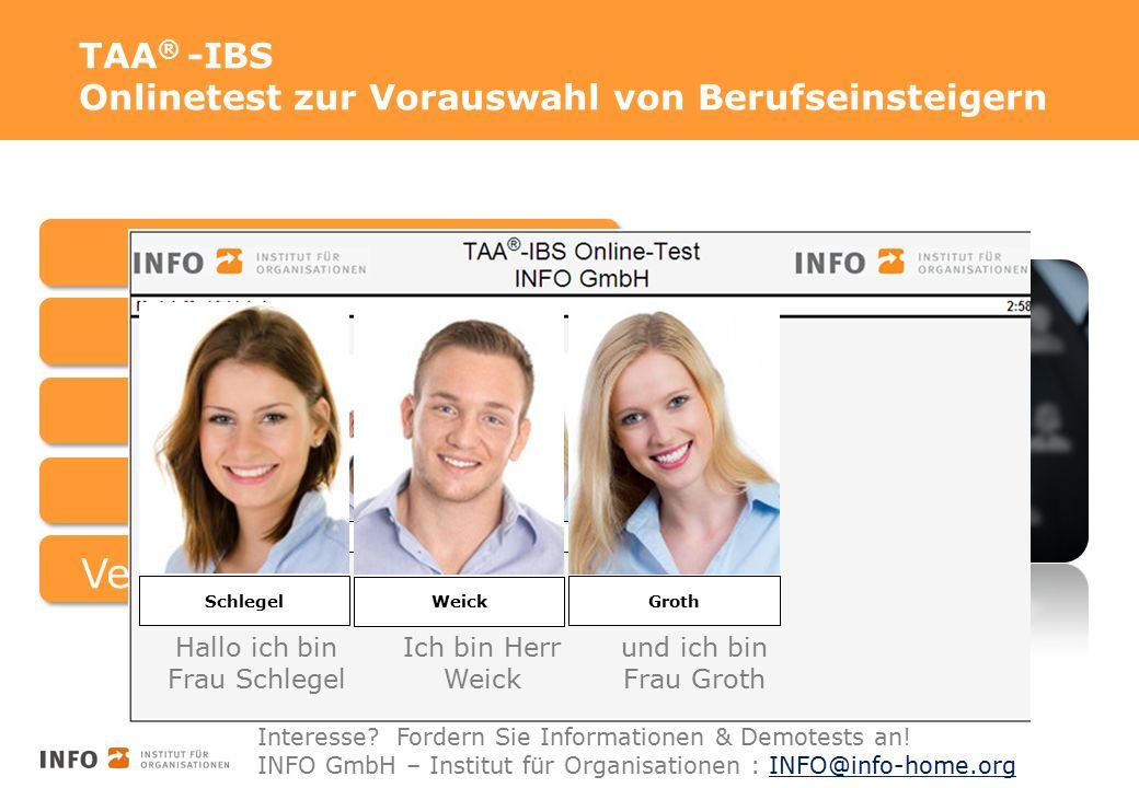 TAA ® -IBS Onlinetest zur Vorauswahl von Berufseinsteigern BasisfähigkeitenBasisfertigkeiten Logisches Denken Soziale IntelligenzVertriebliche Kompetenz Schlegel Weick Groth Schlegel Weick Groth Hallo ich bin Frau Schlegel Ich bin Herr Weick und ich bin Frau Groth Interesse.