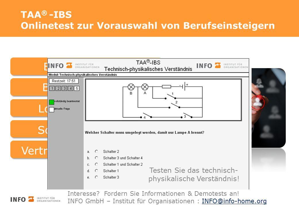 TAA ® -IBS Onlinetest zur Vorauswahl von Berufseinsteigern Basisfähigkeiten Schlegel Weick Groth Kennen Sie unsere Namen noch.