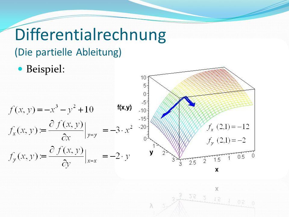 Differentialrechnung (Die partielle Ableitung) Beispiel: