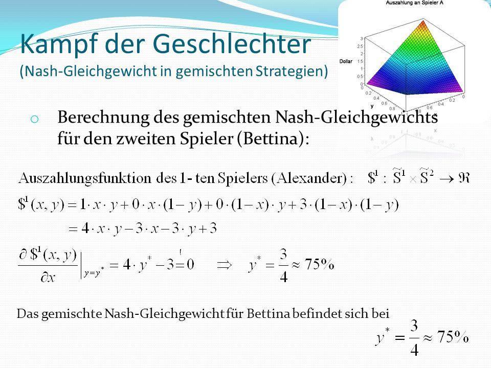 Kampf der Geschlechter (Nash-Gleichgewicht in gemischten Strategien) o Berechnung des gemischten Nash-Gleichgewichts für den zweiten Spieler (Bettina): Das gemischte Nash-Gleichgewicht für Bettina befindet sich bei