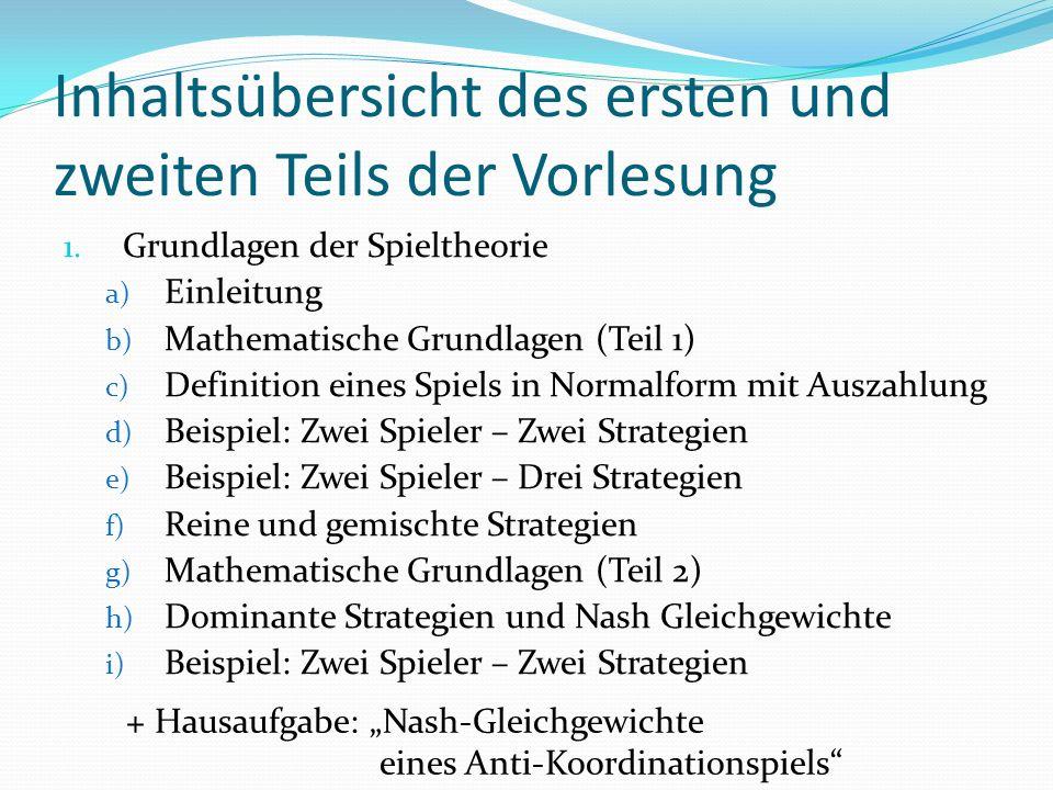 Berechnung des Nash-Gleichgewichts in gemischten Strategien (I) SteinScherePapier Stein (0,0)(1,-1)(-1,1) Schere (-1,1)(0,0)(1,-1) Papier (1,-1)(-1,1)(0,0)