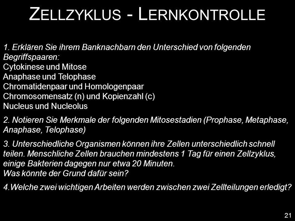 Z ELLZYKLUS - L ERNKONTROLLE 21 1. Erklären Sie ihrem Banknachbarn den Unterschied von folgenden Begriffspaaren: Cytokinese und Mitose Anaphase und Te