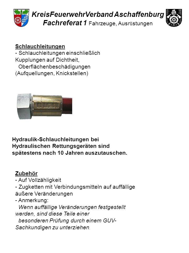 Schlauchleitungen - Schlauchleitungen einschließlich Kupplungen auf Dichtheit, Oberflächenbeschädigungen (Aufquellungen, Knickstellen) Hydraulik-Schla