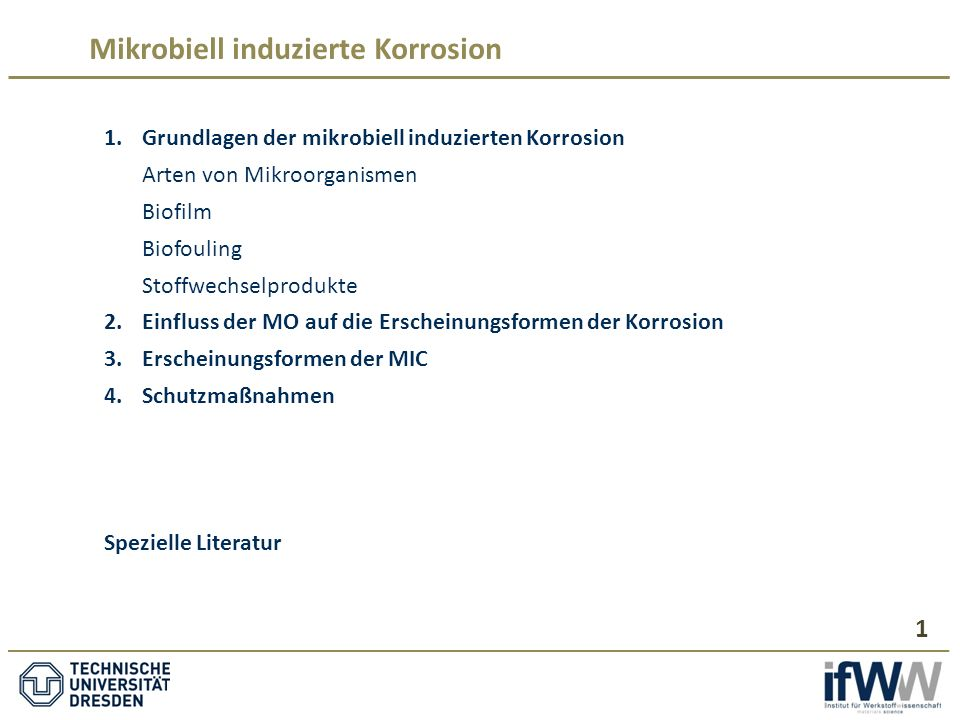 Mikrobiell induzierte Korrosion 1.Grundlagen der mikrobiell induzierten Korrosion Arten von Mikroorganismen Biofilm Biofouling Stoffwechselprodukte 2.Einfluss der MO auf die Erscheinungsformen der Korrosion 3.Erscheinungsformen der MIC 4.Schutzmaßnahmen Spezielle Literatur 1