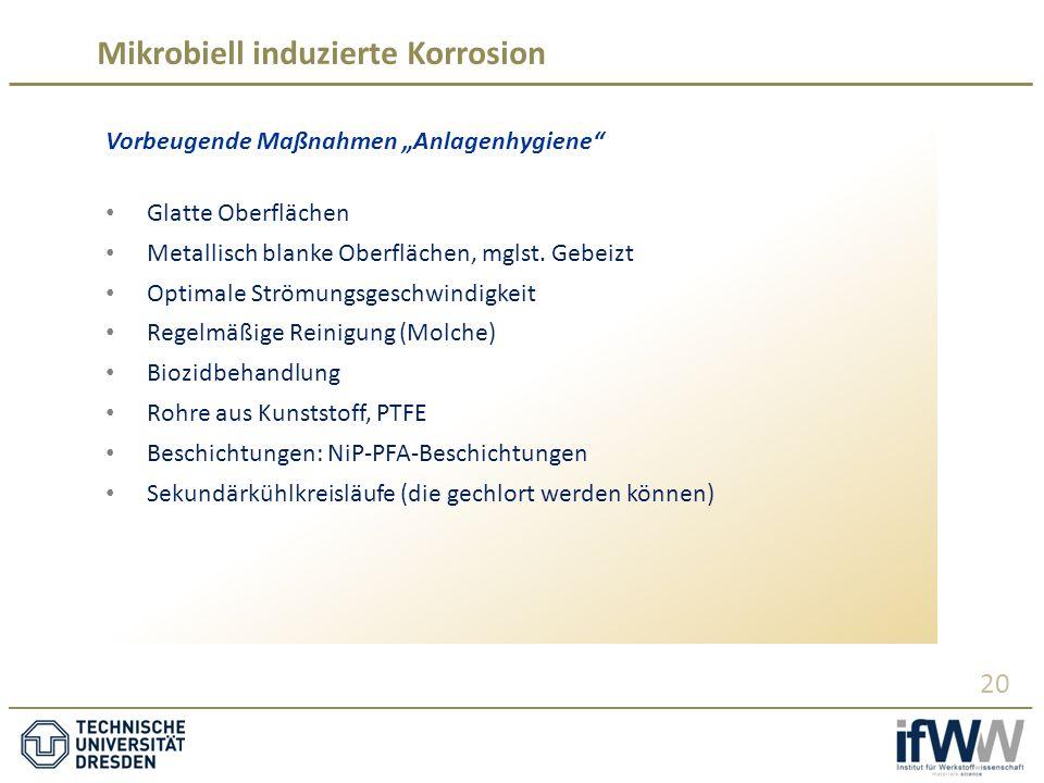 """Mikrobiell induzierte Korrosion 20 Vorbeugende Maßnahmen """"Anlagenhygiene Glatte Oberflächen Metallisch blanke Oberflächen, mglst."""