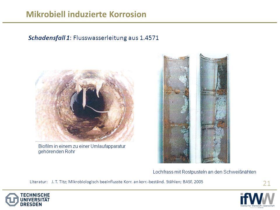 Mikrobiell induzierte Korrosion 21 Schadensfall 1: Flusswasserleitung aus 1.4571 Biofilm in einem zu einer Umlaufapparatur gehörenden Rohr Lochfrass mit Rostpusteln an den Schweißnähten Literatur: J.