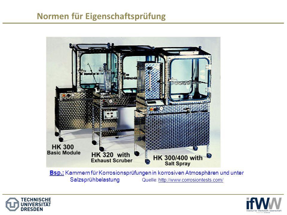 Bsp.: Kammern für Korrosionsprüfungen in korrosiven Atmosphären und unter Salzsprühbelastung Quelle: http://www.corrosiontests.com/http://www.corrosiontests.com/ Normen für Eigenschaftsprüfung