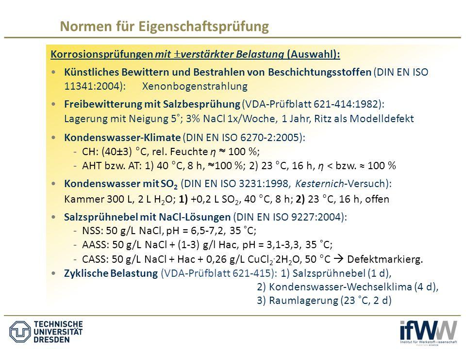Korrosionsprüfungen mit  verstärkter Belastung (Auswahl): Künstliches Bewittern und Bestrahlen von Beschichtungsstoffen (DIN EN ISO 11341:2004):Xenonbogenstrahlung Freibewitterung mit Salzbesprühung (VDA-Prüfblatt 621-414:1982): Lagerung mit Neigung 5°; 3% NaCl 1x/Woche, 1 Jahr, Ritz als Modelldefekt Kondenswasser-Klimate (DIN EN ISO 6270-2:2005): -CH: (40±3) °C, rel.