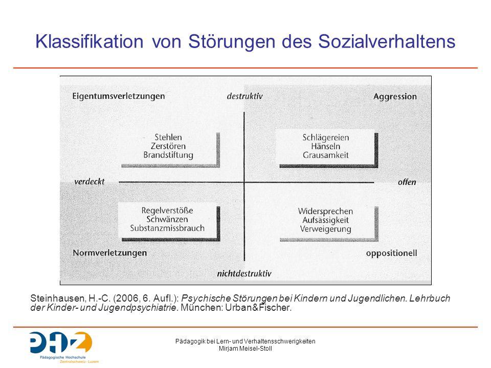 Pädagogik bei Lern- und Verhaltensschwerigkeiten Mirjam Meisel-Stoll Klassifikation von Störungen des Sozialverhaltens Steinhausen, H.-C.