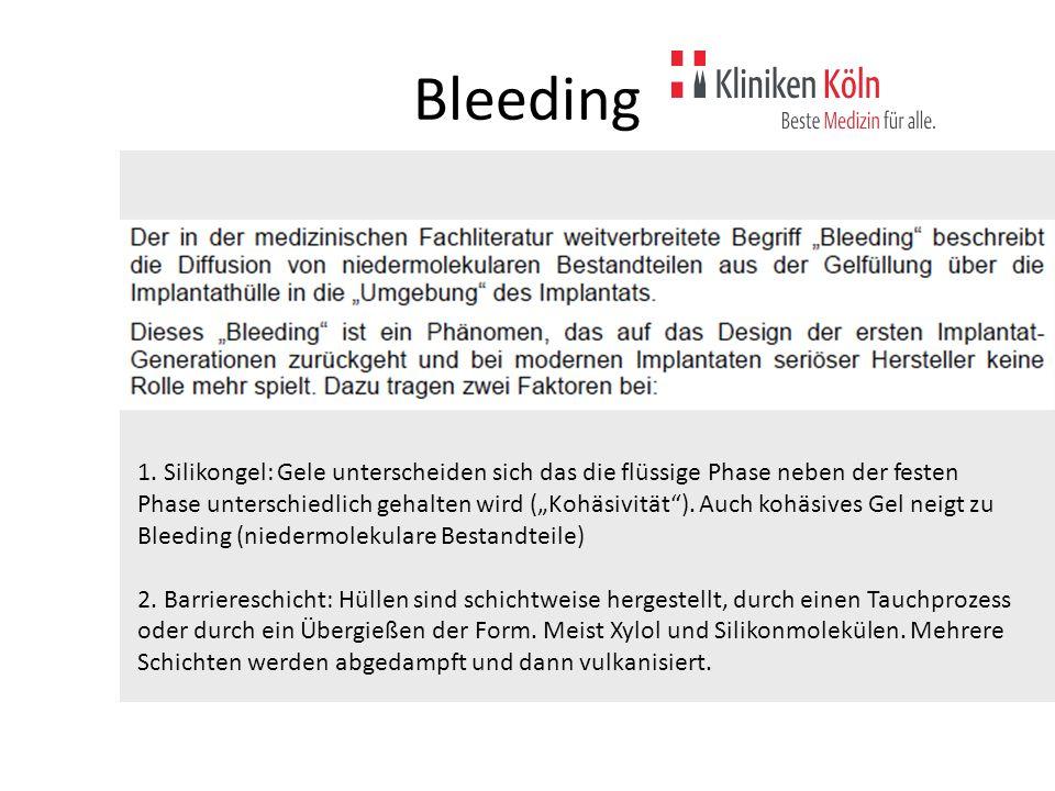 """Bleeding 1. Silikongel: Gele unterscheiden sich das die flüssige Phase neben der festen Phase unterschiedlich gehalten wird (""""Kohäsivität""""). Auch kohä"""