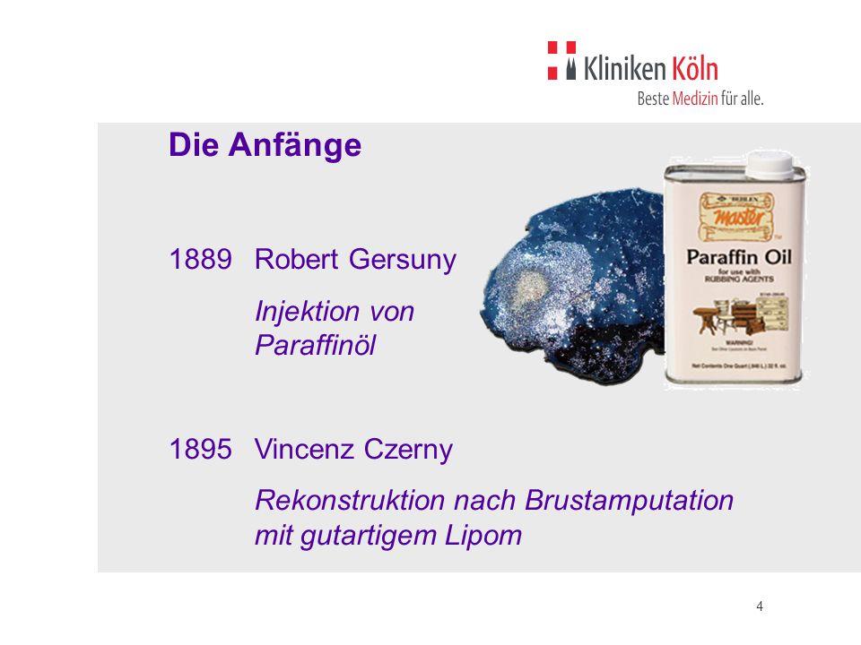 4 Die Anfänge 1889Robert Gersuny Injektion von Paraffinöl 1895Vincenz Czerny Rekonstruktion nach Brustamputation mit gutartigem Lipom