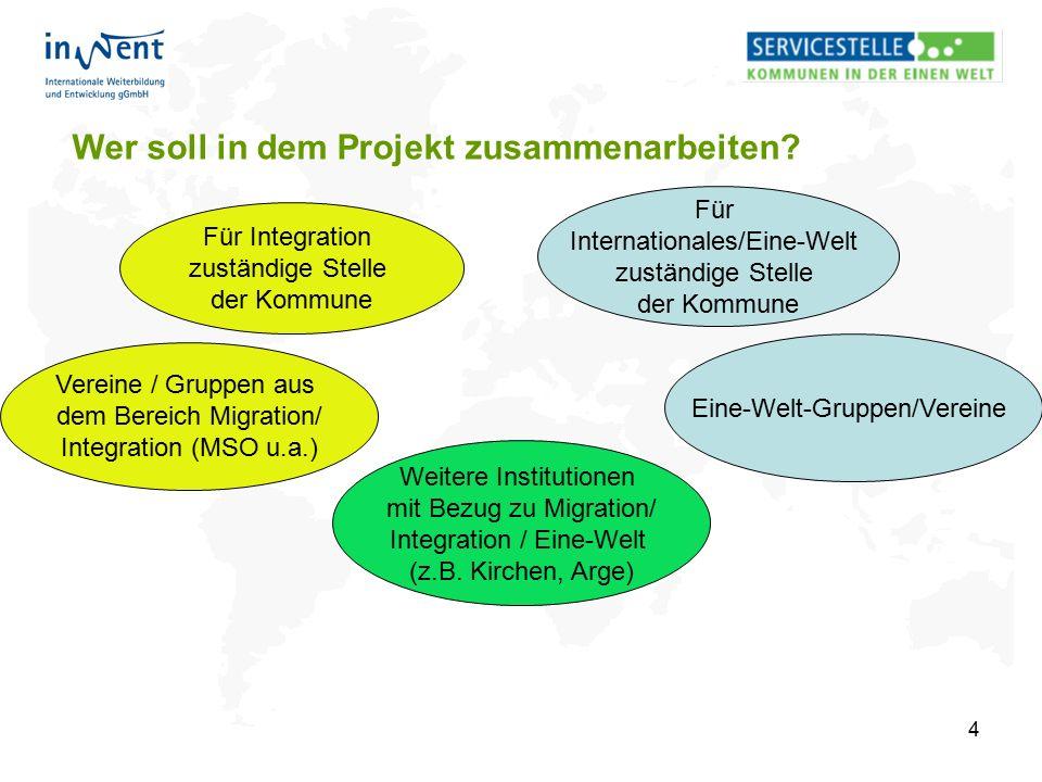 4 Wer soll in dem Projekt zusammenarbeiten? Für Integration zuständige Stelle der Kommune Für Internationales/Eine-Welt zuständige Stelle der Kommune