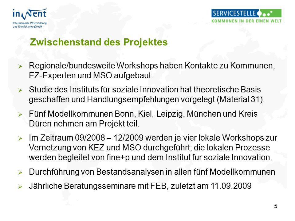 5 Zwischenstand des Projektes  Regionale/bundesweite Workshops haben Kontakte zu Kommunen, EZ-Experten und MSO aufgebaut.  Studie des Instituts für