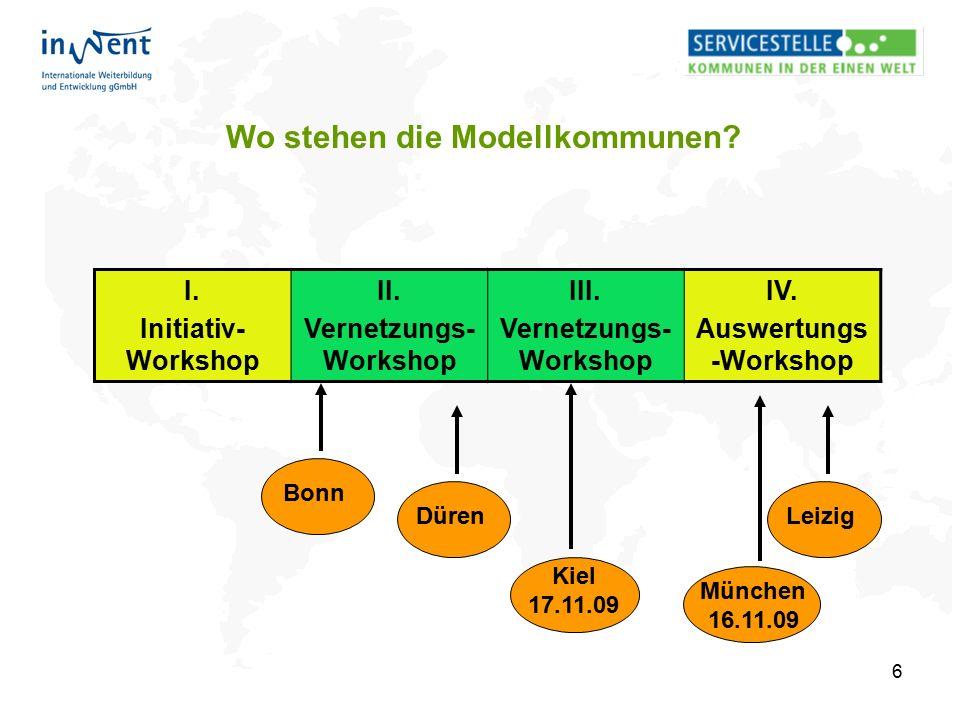 6 Wo stehen die Modellkommunen? I. Initiativ- Workshop II. Vernetzungs- Workshop III. Vernetzungs- Workshop IV. Auswertungs -Workshop Bonn Kiel 17.11.