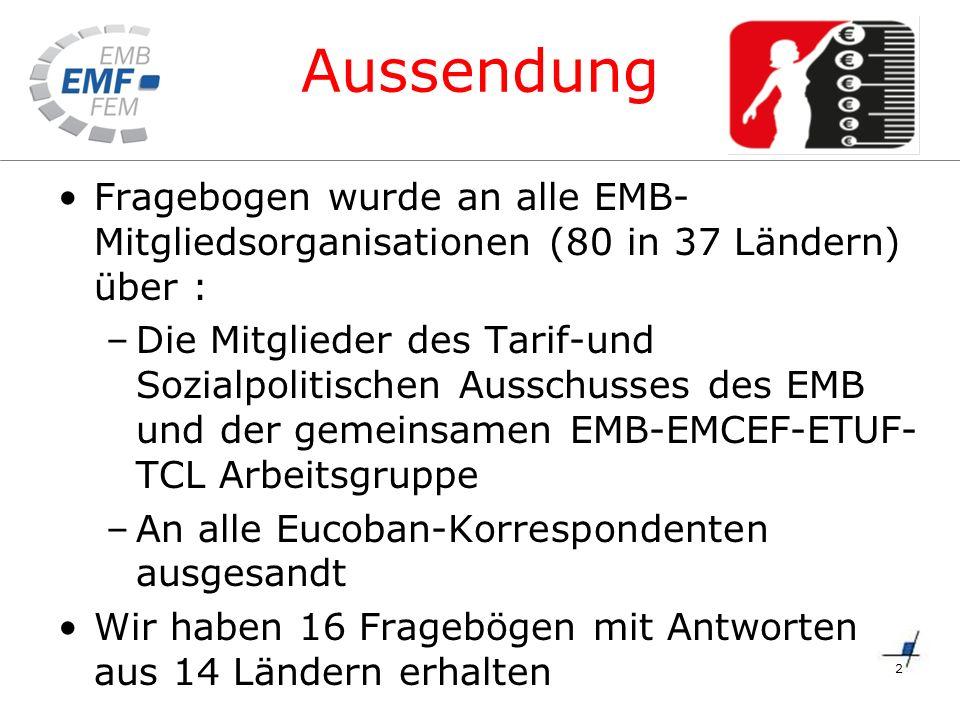 Aussendung Fragebogen wurde an alle EMB- Mitgliedsorganisationen (80 in 37 Ländern) über : –Die Mitglieder des Tarif-und Sozialpolitischen Ausschusses des EMB und der gemeinsamen EMB-EMCEF-ETUF- TCL Arbeitsgruppe –An alle Eucoban-Korrespondenten ausgesandt Wir haben 16 Fragebögen mit Antworten aus 14 Ländern erhalten 2