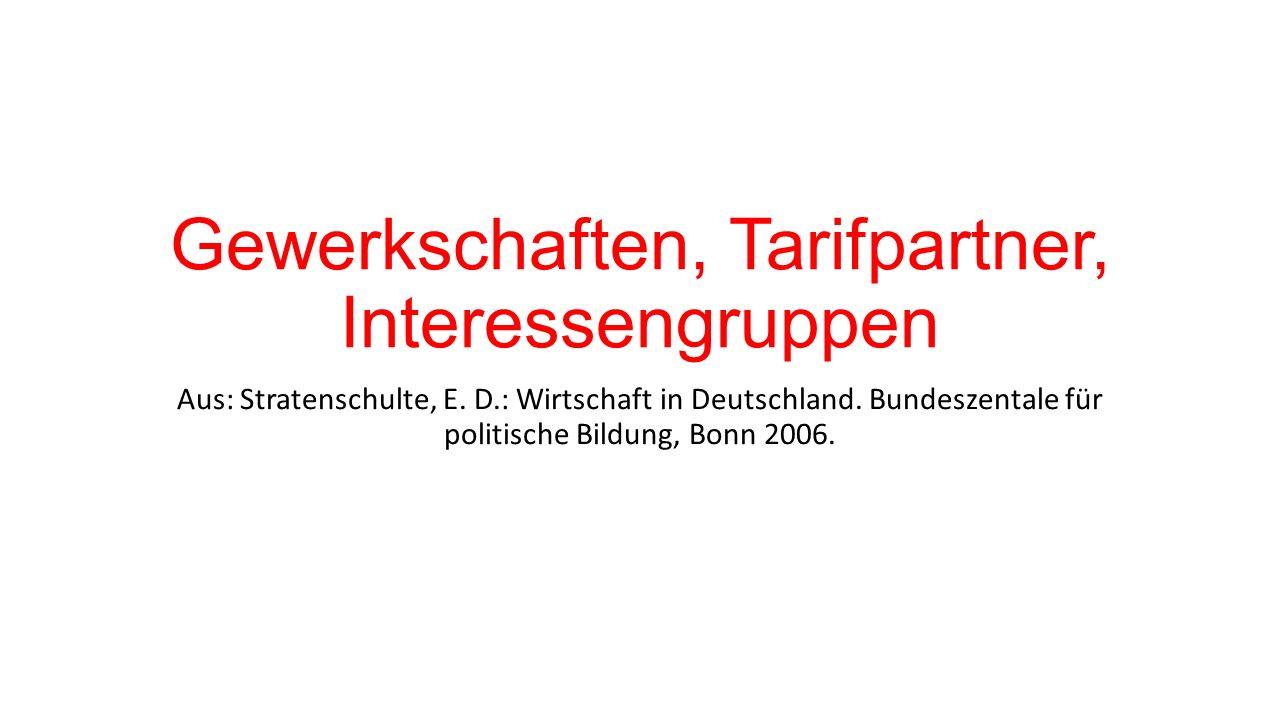 Gewerkschaften, Tarifpartner, Interessengruppen Aus: Stratenschulte, E.