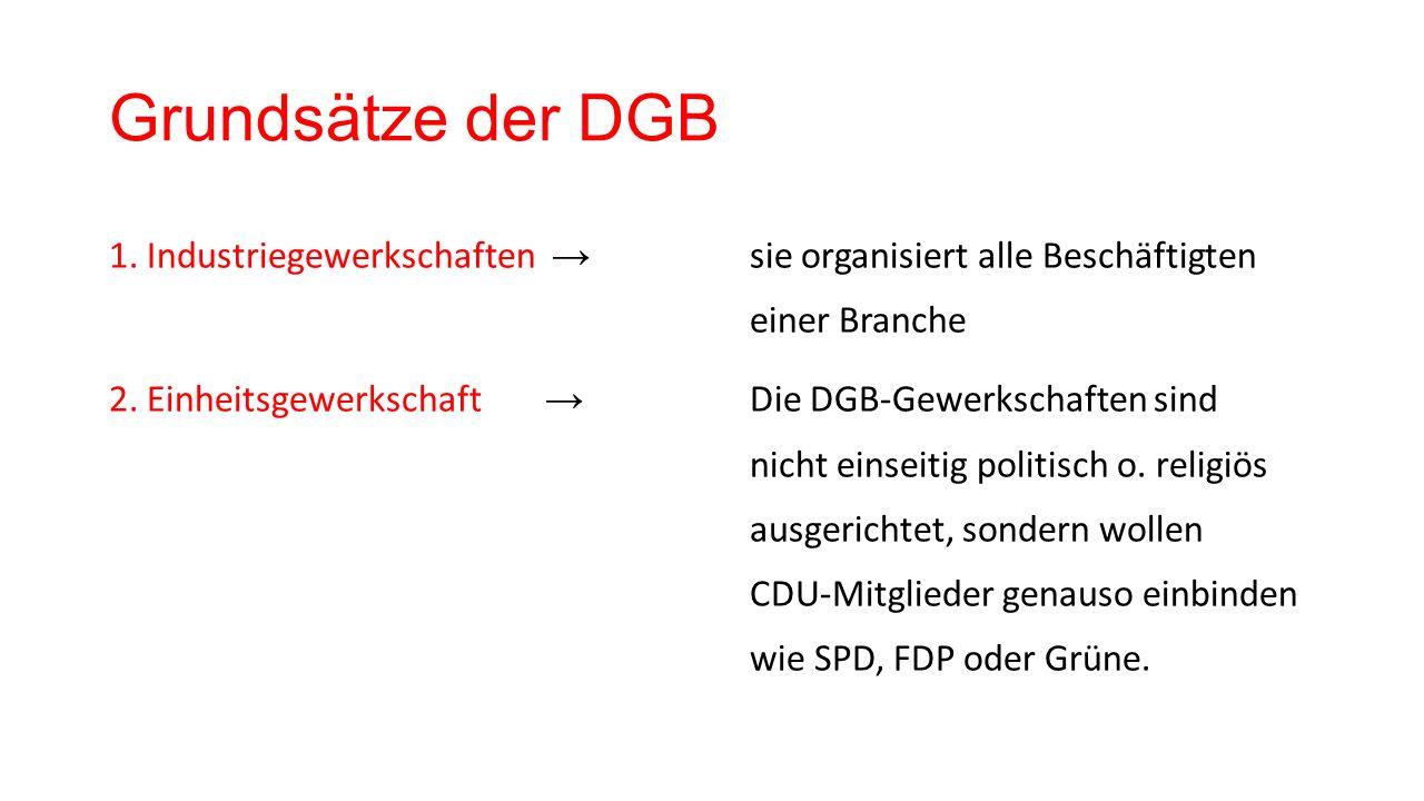 Grundsätze der DGB 1. Industriegewerkschaften → sie organisiert alle Beschäftigten einer Branche 2.