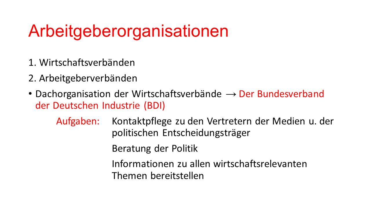 Arbeitgeberorganisationen 1. Wirtschaftsverbänden 2.