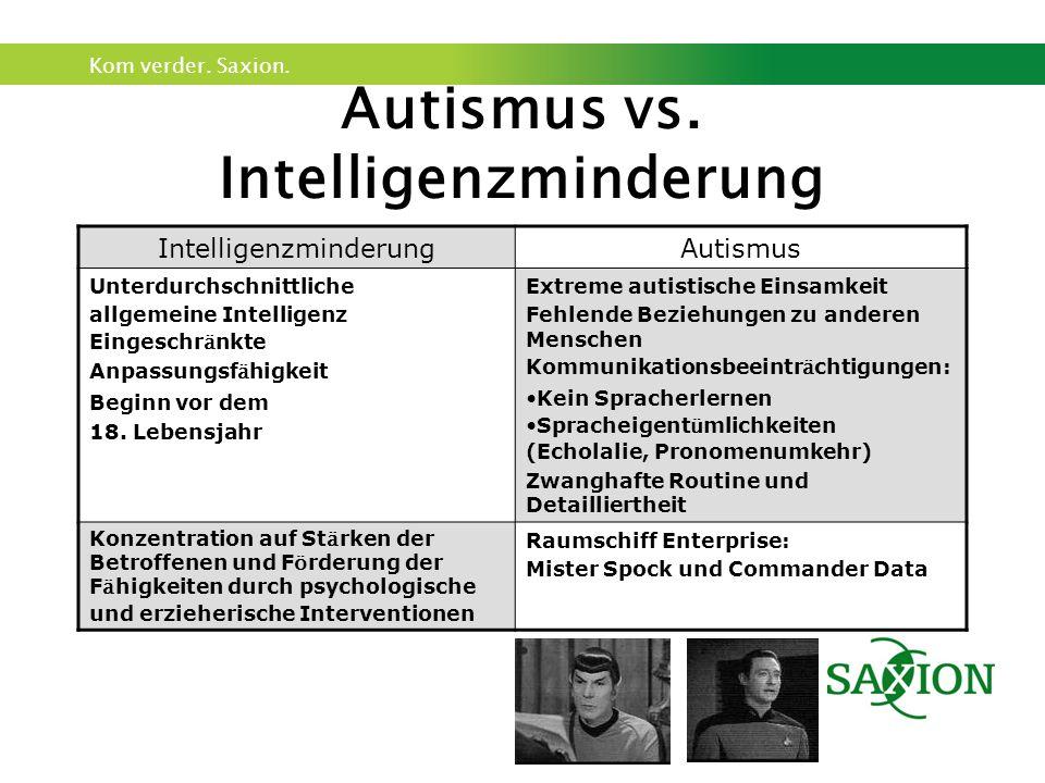 Kom verder. Saxion. Autismus vs. Intelligenzminderung IntelligenzminderungAutismus Unterdurchschnittliche allgemeine Intelligenz Eingeschr ä nkte Anpa
