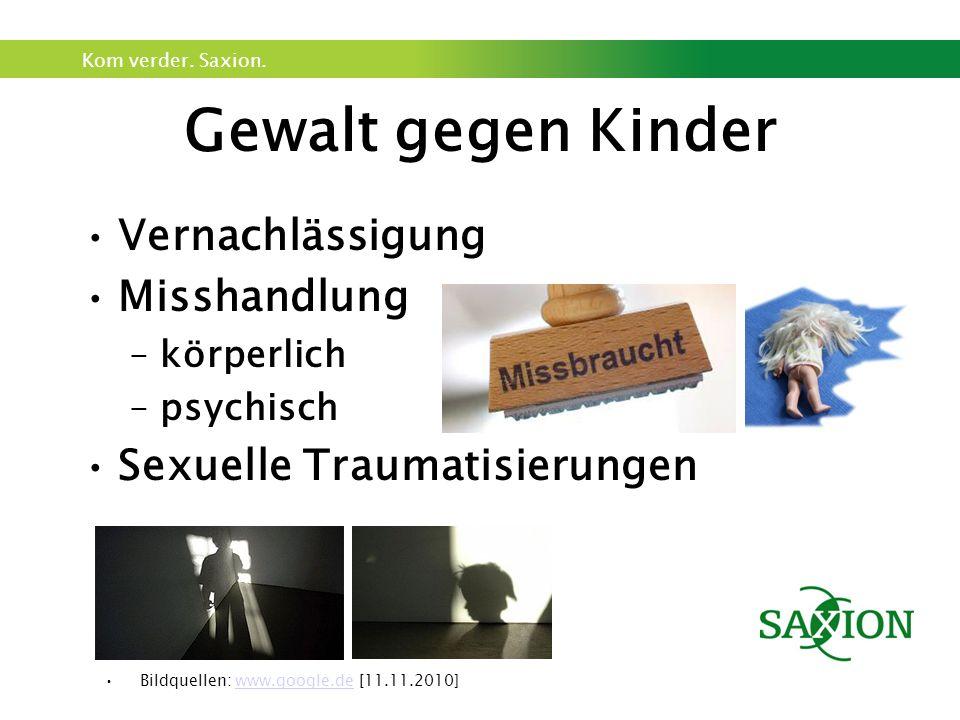 Kom verder. Saxion. Gewalt gegen Kinder Vernachlässigung Misshandlung –körperlich –psychisch Sexuelle Traumatisierungen Bildquellen: www.google.de [11