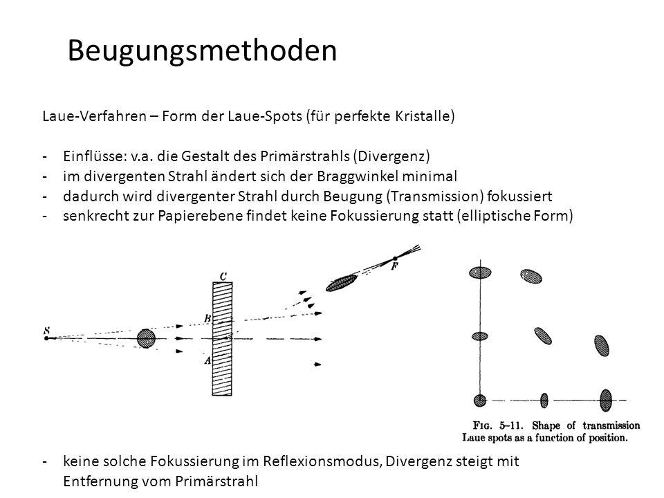 Beugungsmethoden Laue-Verfahren – Form der Laue-Spots (für perfekte Kristalle) -Einflüsse: v.a.