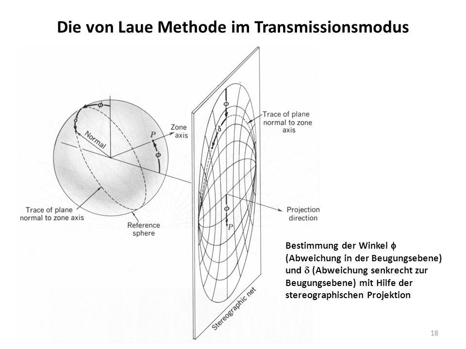 18 Die von Laue Methode im Transmissionsmodus Bestimmung der Winkel  (Abweichung in der Beugungsebene) und  (Abweichung senkrecht zur Beugungsebene) mit Hilfe der stereographischen Projektion