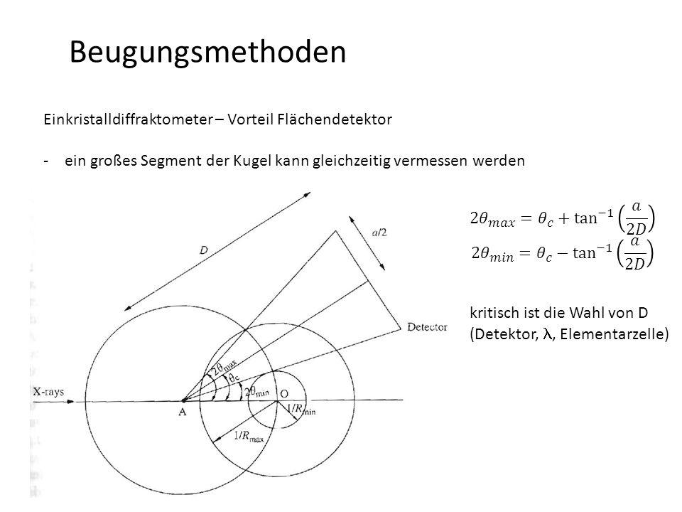 Beugungsmethoden Einkristalldiffraktometer – Vorteil Flächendetektor -ein großes Segment der Kugel kann gleichzeitig vermessen werden kritisch ist die Wahl von D (Detektor,, Elementarzelle)